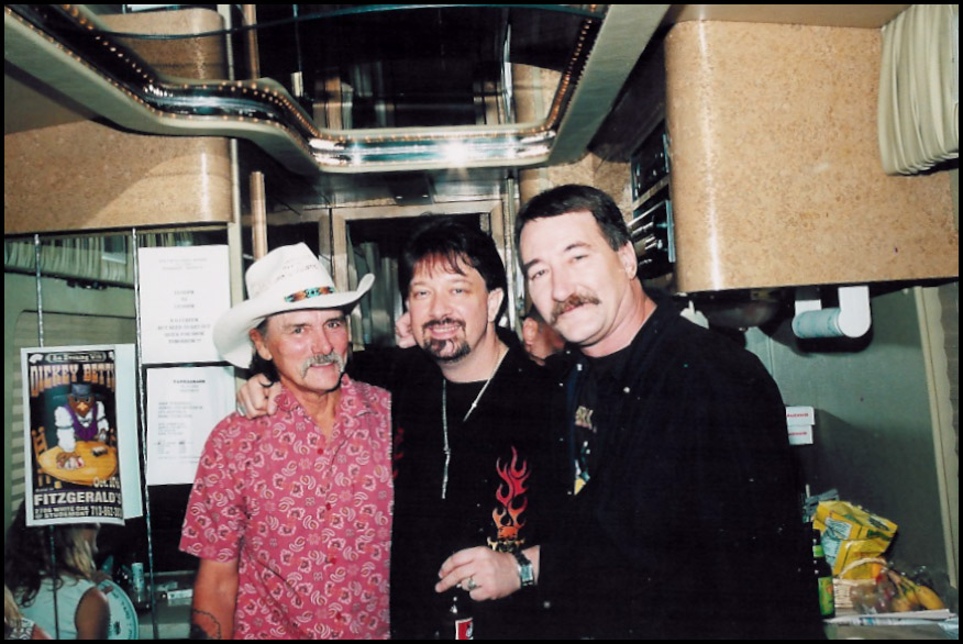 Jay hangin' out on bus with Dickey Betts and  Mark after Great Southern/ Agitators show (Fitzerald's , Houston, TX, Oct. 17, 2002.)