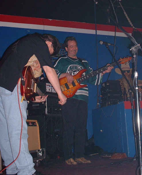Mark and Dan on stage at R&R 12-14-02